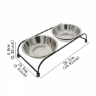 Double Removable Stainless Steel Pet Food Water Bowls with Iron Stand (M Size)