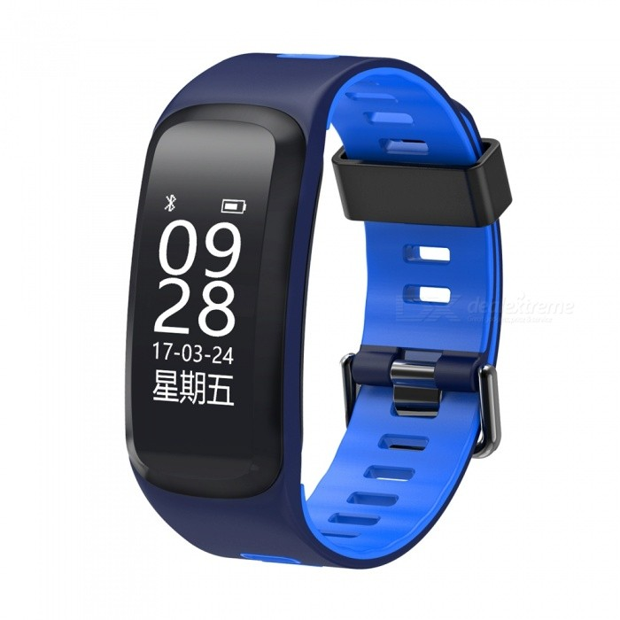 F4 0.96 OLED Smart Fitness Bracelet with Blood Pressure Oxygen, Heart Rate Monitor - BlueSmart Bracelets<br>Form  ColorBlue + BlackModelF4Quantity1 setMaterialSiliconeShade Of ColorBlueWater-proofIP68Bluetooth VersionBluetooth V4.0Touch Screen TypeYesCompatible OSAndroid 4.3 and above &amp; iOS 8.0 and aboveBattery Capacity130 mAhBattery TypeLi-polymer batteryStandby Time5-7 daysPacking List1 x Smart Bracelet1 x Charging Cable1 x User Manual<br>