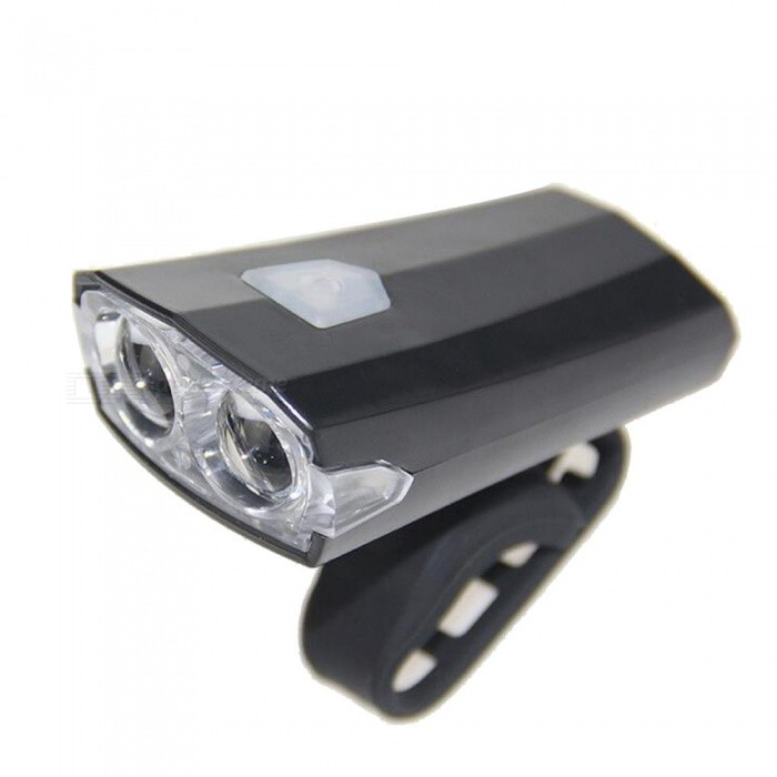 3-Mode IPX4 Waterproof USB Rechargeable Bike Light Headlight - BlackBike Light<br>Form  ColorBlackQuantity1 DX.PCM.Model.AttributeModel.UnitMaterialPVCEmitter BINLEDColor BINNeutral WhiteNumber of Emitters2Input Voltage5 DX.PCM.Model.AttributeModel.UnitBatteryLithium battery x1Battery included or notYesRuntime4-16 DX.PCM.Model.AttributeModel.UnitNumber of Modes3Mode ArrangementHi,Mid,Slow StrobeSwitch TypeClicky SwitchSwitch LocationSideStrap/ClipClip includedApplicationHandle BarHolder Diameter2-4 DX.PCM.Model.AttributeModel.UnitWaterproofYesPacking List1 x Bike Front Light1 x USB Cable<br>