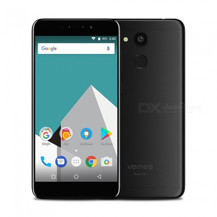 "VERNEE M5 Android 7.0 4G Phone w/ 4GB RAM 64GB ROM, 5.2"" FHD, Dual SIM, Octa-Core, Dual Camera, 3300mAh Battery - Black"