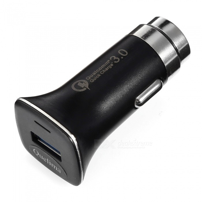 Quelima 2-in-1 QC3.0 Quick Charge Car Charger with Safety Emergency Hammer - BlackCar Chargers<br>Form  ColorBlackModelLZ-328Quantity1 setMaterialABSInput12-24VOutput interface, output current, output voltageDC 5V 3.1A, 1 USB 3.0Cable Length0 cmQuick Charge3.0Packing List1 x Car Charger<br>