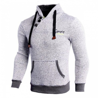 CTSmart WO4 Latest Men's Fashion Personality Long Sleeved Hooded Sweater - Grey (XL)