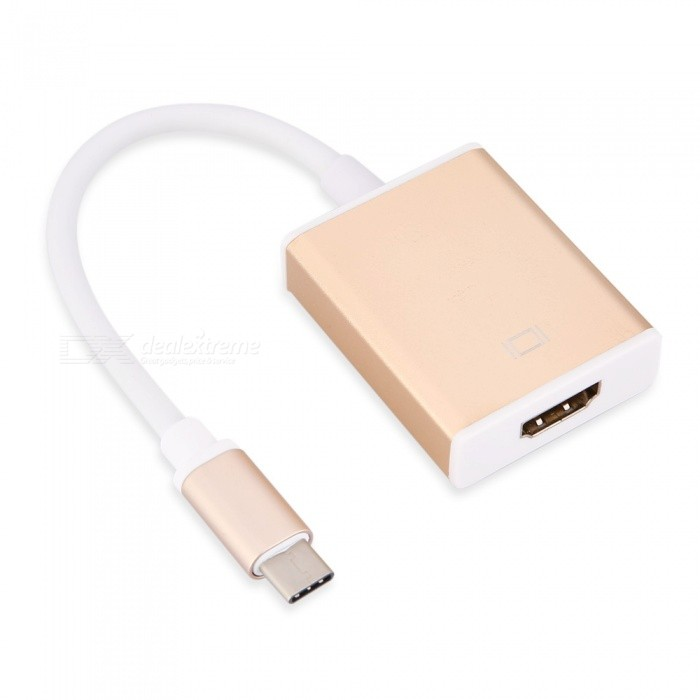 TUTUO USB 3.1 Type-C USB-C to HDMI Female Adapter - GoldenUSB Hubs &amp; Switches<br>Form  ColorGoldenQuantity1 DX.PCM.Model.AttributeModel.UnitMaterialN/AShade Of ColorGoldIndicator LightNoPort Number2Spacing18cmWith Switch ControlNoInterfaceOthers,USB3.1Transmission Rate5 DX.PCM.Model.AttributeModel.UnitPowered ByUSBSupports SystemWin7 32,Win7 64,Win8 32,Win8 64,Android 2.x,Android 4.x,Others,Win10Packing List1 x TUTUO Type-C to HDMI Adapter<br>