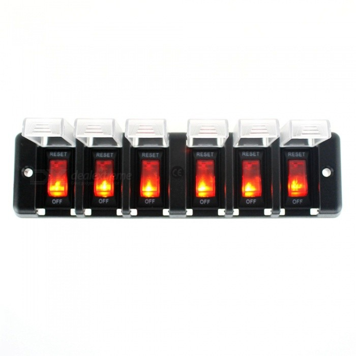 IZTOSS S1683 16A 12V DC 6-Group Switch Panel with Cap and Cable for Car, RV, Ship RefitCar Switches<br>Form  Color6-Group SwicthModelS1683Quantity1 DX.PCM.Model.AttributeModel.UnitMaterialEnvironment friendly flame retardant nylon materialIndicator LightYesRate Voltage12VRated Current16 DX.PCM.Model.AttributeModel.UnitPacking List1 x Switch panel<br>