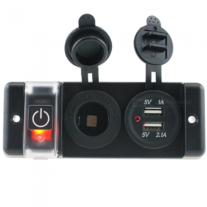 IZTOSS S1684 Car Switch Panel, Supports 12V USB Vehicle Charging + Power SocketCar Switches<br>Form  ColorDark red + BlackModelS1684Quantity1 DX.PCM.Model.AttributeModel.UnitMaterialEnvironment friendly flame retardant nylon materialIndicator LightYesRate Voltage12VRated Current16 DX.PCM.Model.AttributeModel.UnitPacking List1 x Switch panel<br>