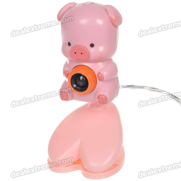 Cute Cartoon Piggy Figure PC USB 2.0 1/4 CMOS 5MP Webcam - Pink (110CM-Cable)