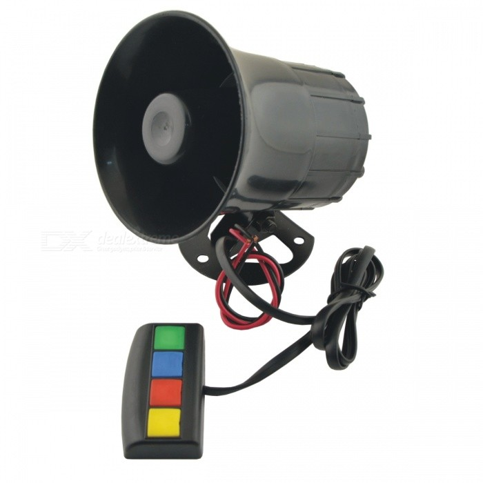 CARKING DC 12V 30W 105dB 4 Sounds Siren Speaker Electric Horn Trumpet for Car - BlackMotorcycle Alarm &amp; Security<br>Form  ColorBlackModelA/NQuantity1 DX.PCM.Model.AttributeModel.UnitMaterialPlastic, MetalApplicationBodySpeaker Power30 DX.PCM.Model.AttributeModel.UnitSpeaker Volume105 DX.PCM.Model.AttributeModel.UnitPower Supply12VRated Working Voltage12 DX.PCM.Model.AttributeModel.UnitPacking List1 x Car Horn<br>