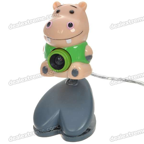 Cute Cartoon Hippopotamus Figure PC USB 2.0 1/4 CMOS 5MP Webcam - Pink + Green (110CM-Cable)