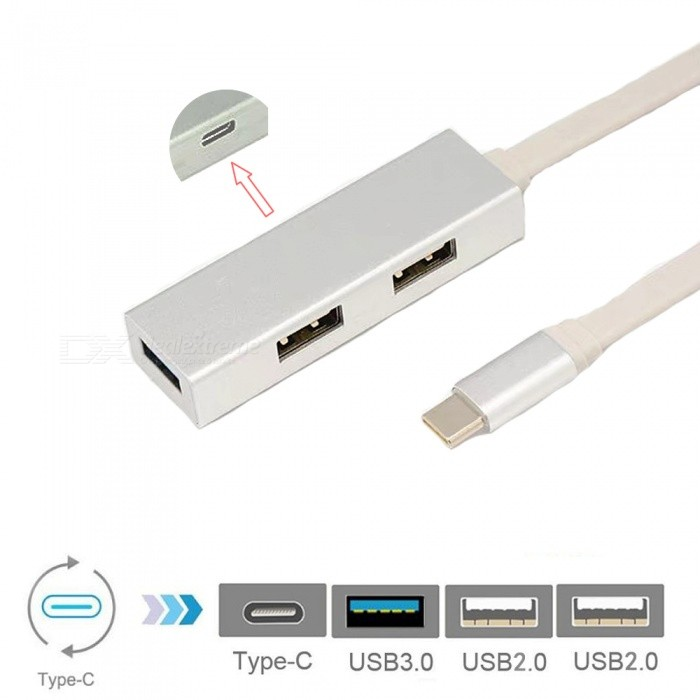 Cwxuan USB 3.1 Type-C to 3-Port USB Hub with Type-C Charging Port Adapter - SilverLaptop/Tablet Cable&amp;Adapters<br>Form  ColorSilverQuantity1 DX.PCM.Model.AttributeModel.UnitShade Of ColorSilverMaterialAluminum alloyInterfaceUSB 3.0,USB 2.0,Others,Type-CPacking List1 x Adapter<br>