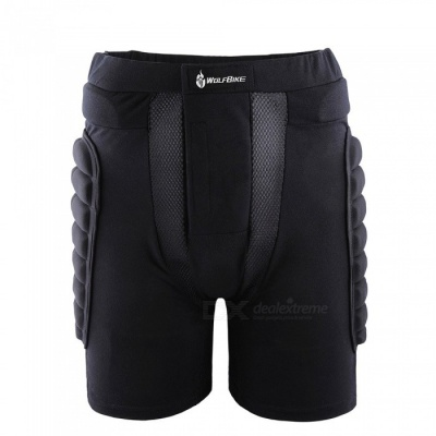 WOLFBIKE BC305 Protective Drop Resistance Roller Padded Hip Butt Pad Shorts for Snowboard Skating Skiing - Black (L)