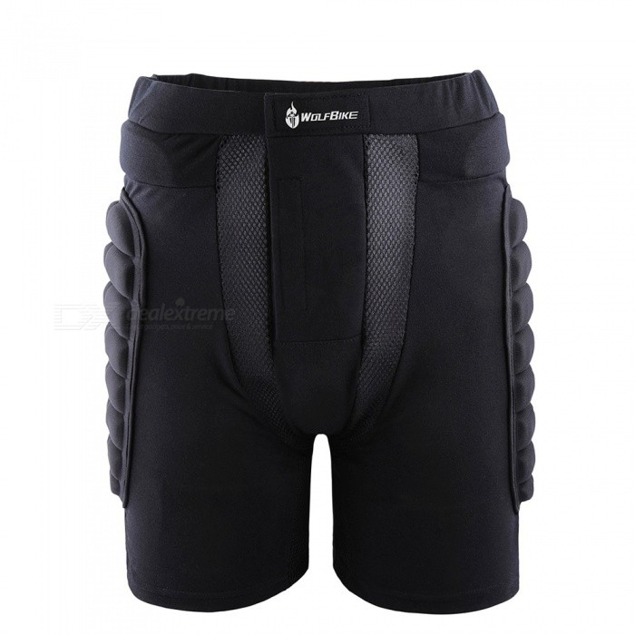 WOLFBIKE BC305 Protective Drop Resistance Roller Padded Hip Butt Pad Shorts for Snowboard Skating Skiing - Black (XL)Hip Pads<br>Form  ColorBlack (XL)ModelBC305Quantity1 DX.PCM.Model.AttributeModel.UnitMaterialEVA 80%,  Polyester 20%SizeXLPacking List1 x Protective Hip Pants<br>
