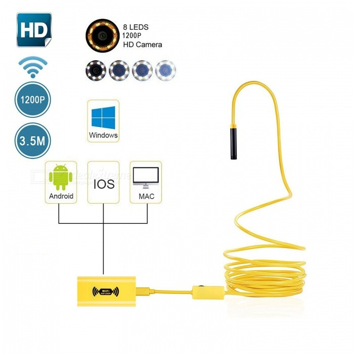 BLCR IP68 Wi-Fi Endoscope Borescope Inspection Camera 2.0MP 1200p HD Snake Camera with 8 Adjustable LED Light (3.5M)