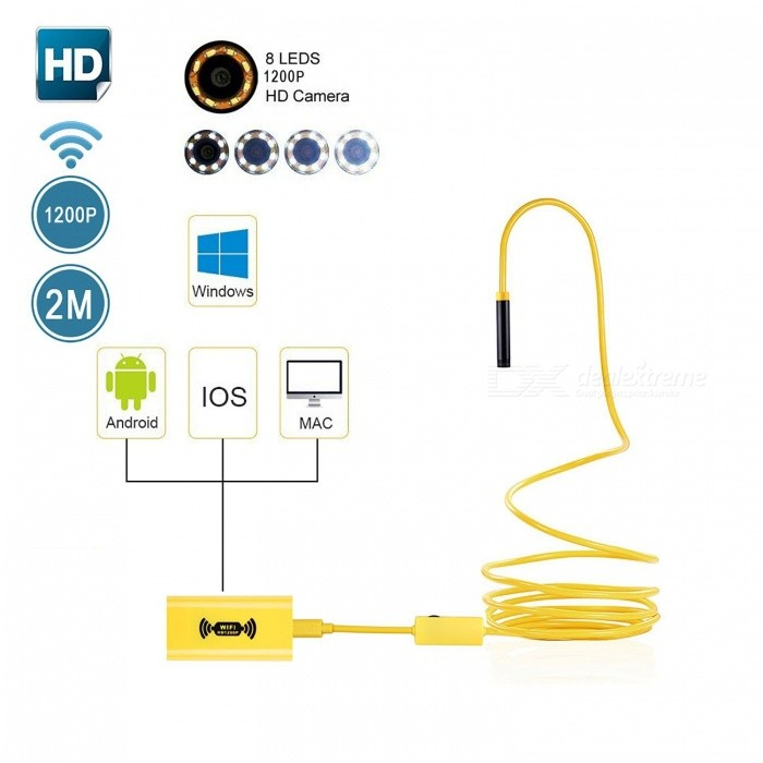 BLCR IP68 Wi-Fi Endoscope Borescope Inspection Camera 2.0MP 1200p HD Snake Camera with 8 Adjustable LED Light (2M)Microscopes &amp; Endoscope<br>Snake Cable Length2M HardwireModel110BQuantity1 DX.PCM.Model.AttributeModel.UnitForm  ColorYellowMaterialPlasticCamera Pixels2.0MPCompatible OSIOS/Android /Windows/MacCamera head outer diameter8mmLED Bulb Qty8InterfaceMicro USBPacking List1 x Endoscope1 x Wi-Fi box1 x USB charging cable 1 x Accessories box (Mirror, Hook, Magnet and Waterproof Device) 1 x Fixed suction cup1 x English Instruction Manual<br>