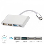 Cwxuan USB 3.1 Type-C to 3-Port USB Hub with Type-C Charging Port Adapter - Silver