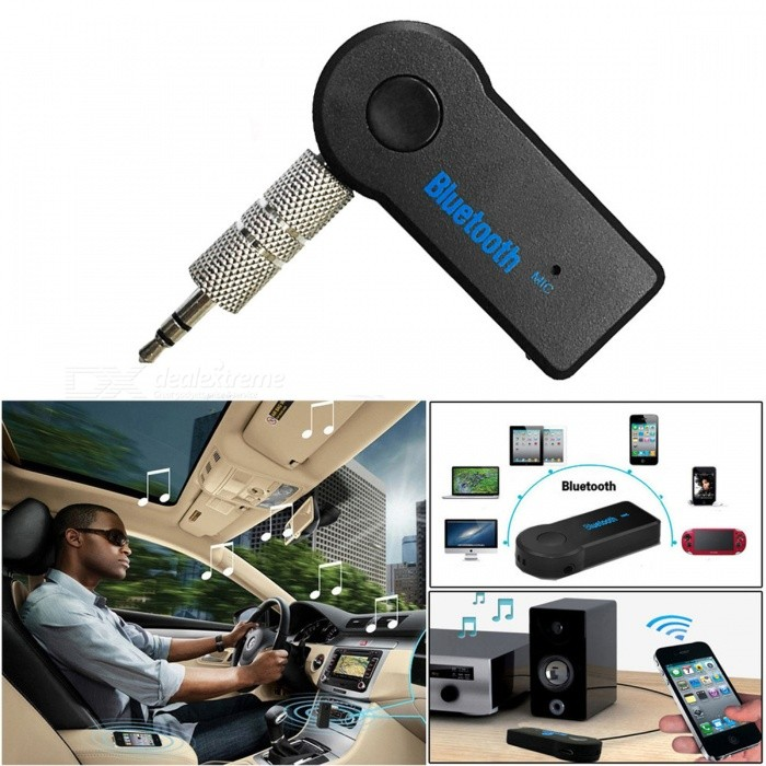 Car Bluetooth Handsfree Music Receiver Universal 3.5mm Plug Wireless Auto AUX Audio Adapter with Mic for Phone MP3Bluetooth Car Kits<br>Form  ColorBlackModel-Quantity1 DX.PCM.Model.AttributeModel.UnitMaterialPlasticFunctionOthers,-Compatible CellphoneOthers,-Voice Prompt LanguageOtherBluetooth VersionOthers,Bluetooth V3.0 + EDRTransmit Distance5 DX.PCM.Model.AttributeModel.UnitCharging Voltage5 DX.PCM.Model.AttributeModel.UnitInterface/PortOthers,3.5mm PlugPacking List1 x Bluetooth Music Receiver<br>