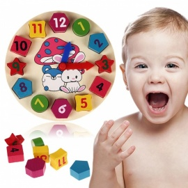 Wooden 12 Number Clock Toy, Baby Colorful Puzzle