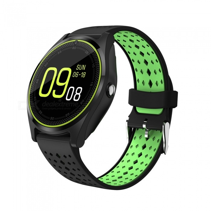 V9 Bluetooth Smart Watch Phone Support 2G Micro SIM Card, With Camera, Pedometer, Heart Rate Monitoring - BlackSmart Watches<br>Form  ColorBlack + MulticolorQuantity1 DX.PCM.Model.AttributeModel.UnitMaterialABSShade Of ColorBlackCPU ProcessorMT6261DScreen Size1.22 DX.PCM.Model.AttributeModel.UnitScreen Resolution240*240Bluetooth VersionBluetooth V4.0Compatible OSAndroid/Android 4.4/iOS/iOS8.0LanguageEuropean languages: English, French, Spanish, Polish, Portuguese, Korean,<br>Italian, German, Dutch, Turkish, Russian, Hebrew.                                      Southeast Asian languages: English (default), Thailand, Vietnam, India, Malaysia, Indonesia, Arabia, Burma.                      Chinese-EnglishWristband Length22 DX.PCM.Model.AttributeModel.UnitWater-proofNoBattery ModeNon-removableBattery TypeLi-polymer batteryBattery Capacity380 DX.PCM.Model.AttributeModel.UnitStandby Time5-7 DX.PCM.Model.AttributeModel.UnitPacking List1 x V9 Smart Watch Phone1 x USB Cable1 x English Manual<br>