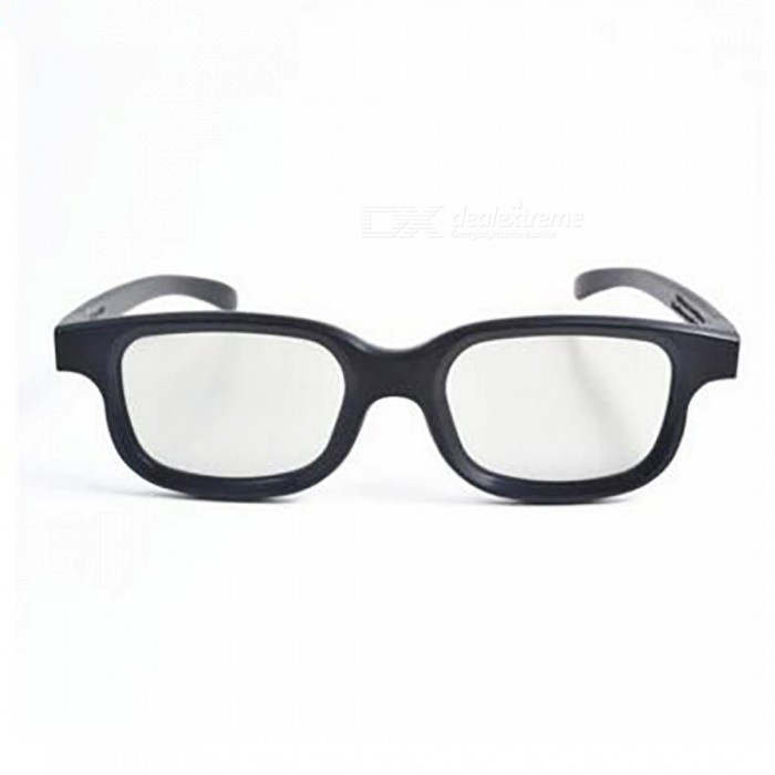 Re-useable Plastic Frame Resin Lens Anaglyphic 3D Glasses - Black