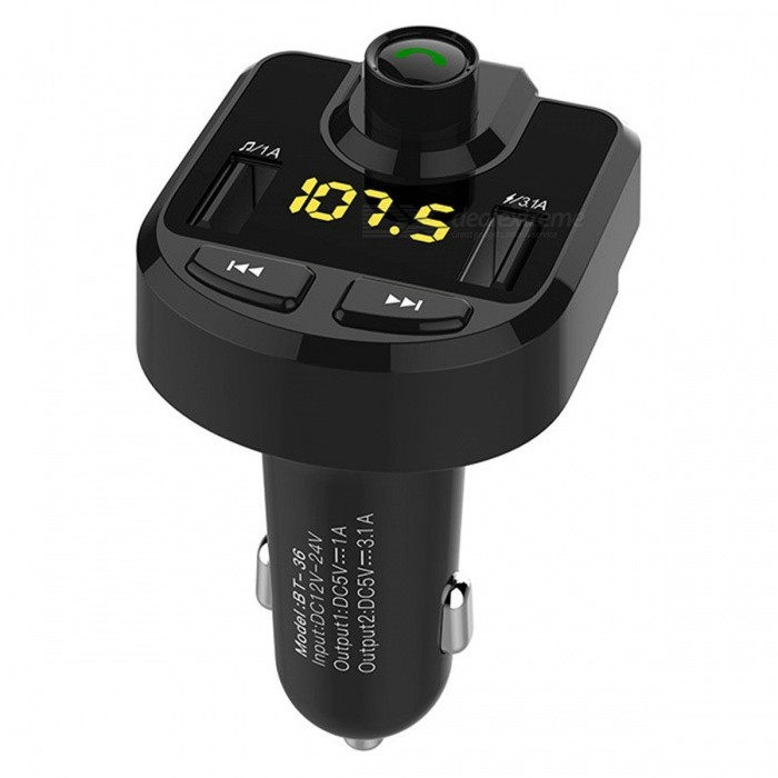 KELIMA BT36 Dual USB Car Charger, FM Transmitter, MP3 Player Bluetooth Hands-Free Kit - BlackBluetooth Car Kits<br>Form  ColorBlackModelBT36Quantity1 DX.PCM.Model.AttributeModel.UnitMaterialABSScreen Size2 DX.PCM.Model.AttributeModel.UnitFunctionOthersCompatible CellphoneOthers,UniversalPhonebook Capacity0Voice PromptNoVoice Prompt LanguageOtherBluetooth VersionBluetooth V3.0,Bluetooth V4.0Transmit Distance10 DX.PCM.Model.AttributeModel.UnitFM Frequency Range87.5-108MHZFM Transmit Distance8 DX.PCM.Model.AttributeModel.UnitSNR85DBBattery Capacity50-100 DX.PCM.Model.AttributeModel.UnitCharging Voltage12 DX.PCM.Model.AttributeModel.UnitTalk Time3-5 DX.PCM.Model.AttributeModel.UnitStandby Time72 DX.PCM.Model.AttributeModel.UnitCharging Time2 DX.PCM.Model.AttributeModel.UnitInterface/PortOthers,USBExpansion Card  Capacity (Max.)32GBPacking List1 x Car Hands-free Kit<br>
