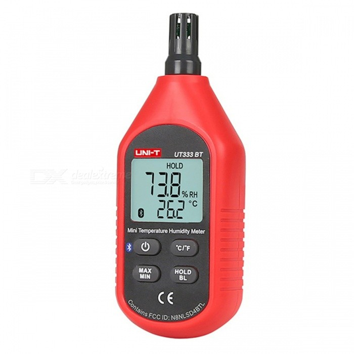 UNI-T UT333BT Bluetooth Mini Digital Thermometer Hygrometer - Red + BlackTemperature Instruments<br>Form  ColorRed + BlackModelUT333BTQuantity1 DX.PCM.Model.AttributeModel.UnitMaterialABSScreen Size34*27 DX.PCM.Model.AttributeModel.UnitCelsius Range-10~60Fahrenheit Range14-140 DX.PCM.Model.AttributeModel.UnitBacklightYesAuto Power OffYesPowered ByAAA BatteryBattery Number3Battery included or notYesCertificationCEPacking List1 x Temperature Humidity Meter<br>