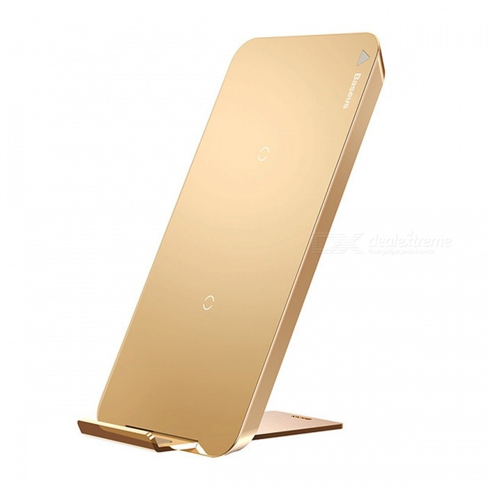 Baseus Fast Charge Qi Wireless Charger Charging Station with Type-C Interface - GoldenWireless Chargers<br>Form  ColorGoldenPower AdapterOthersModelWXHSD-0VQuantity1 DX.PCM.Model.AttributeModel.UnitMaterialABS + IronExecutive StandardQiShade Of ColorGoldTypeChargerCompatible ModelsUniversalCable Length100 DX.PCM.Model.AttributeModel.UnitInput5V 2A or 9V 1.67AOutput interface, output current, output voltage5V 1A / 9V 1ALED IndicatorNoCertificationCCC,CE,RoHS,FCCForm  ColorGoldPower AdapterType-CPacking List1 x Qi Wireless Charger<br>