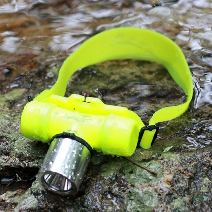 XM-L T6 3-Mode 30m Swimming Diving Headlight Head Light, Torch Lamp - YellowDiving Flashlights<br>Form  ColorYellowQuantity1 setMaterialAluminium alloy &amp; ABS plasticEmitter BrandCreeLED TypeOthers,N/AEmitter BINT6Color BINCold WhiteNumber of Emitters1Actual Lumens280-300 lumensPower Supply3 * AAA or 1 * 18650 battery (not included)Working Voltage   / VCurrent/ ARuntime/ hourNumber of Modes3Mode ArrangementHi,Mid,Fast StrobeMode MemoryNoSwitch TypeOthers,Rotary SwitchSwitch LocationHeadLens Material/ReflectorAluminum SmoothWorking Depth Underwater30 mStrap/ClipNoPacking List1 x Diving Light (not include battery and charger)1 x AAA holder<br>