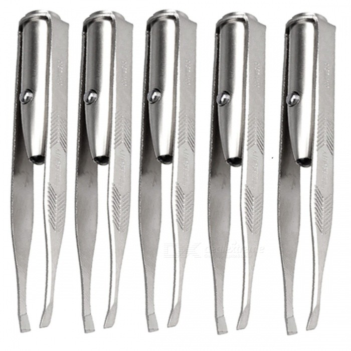 5Pcs LED White Light Stainless Steel Eyebrow Tweezers - Silver (3*LR41)Eyelash or Eyebrow Supplies<br>Form  ColorSilverMaterialPVC+ stainless steelQuantity1 DX.PCM.Model.AttributeModel.UnitShade Of ColorMulti-colorWaterproofNoGuarantee Data1 DX.PCM.Model.AttributeModel.UnitPacking List5 x Eyebrow tweezers<br>