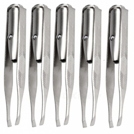 5Pcs LED White Light Stainless Steel Eyebrow Tweezers - Silver (3*LR41)
