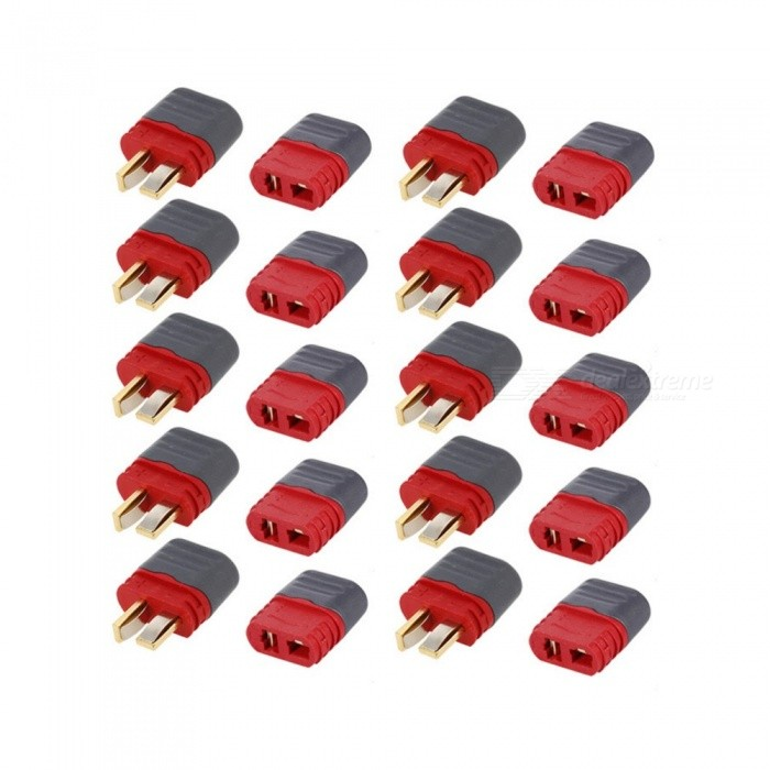 10 Pairs AMASS Deans T Plug Connector Male Female Set for RC Car FPV Racing Quadcopter Multirotor AirplaneOther Accessories for R/C Toys<br>Form  ColorRed + Silvery Grey + Multi-ColoredModelAMASSMaterialGold plated brassQuantity1 setCompatible ModelAMASSPacking List10 x Deans Ultra Plug Male Connector Set10 x Deans Ultra Plug Female Connector Set<br>