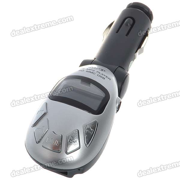 "1.0"" LCD Car MP3 Player FM Transmitter with IR Remote Controller - Silver (2.5mm Audio/SD/USB/DC12V)"