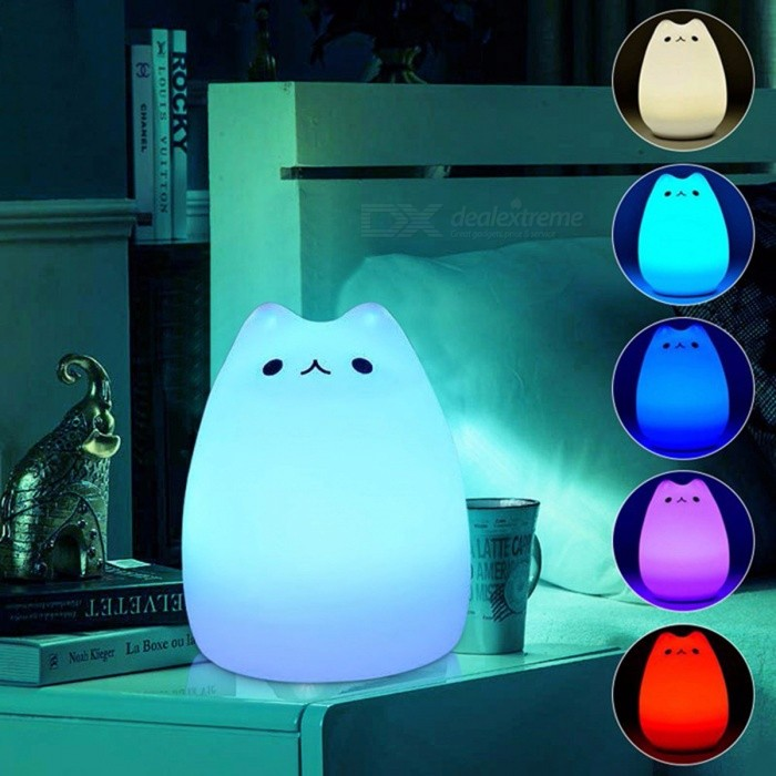 7 Color Changing Cat Shape Led Usb Children S Night Light