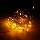 JRLED Waterproof 2m 20-LED Battery Powered String Lights for Christmas Tree Decoration - Yellow Light
