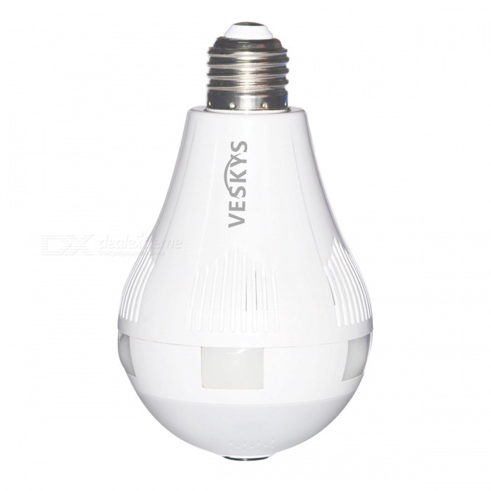VESKYS 960P 360 graden FishEye lens 1.3MP draadloze Wi-Fi Panoramische IP-camera, Smart Bulb Light voor Home Security