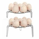 KICCY 2-Pack Stainless Steel Egg Cooker Steamer Rack - Silver