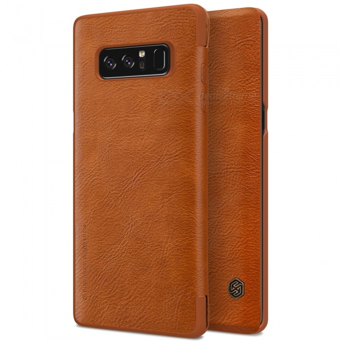 Nillkin Protective PU Leather Case for Samsung Galaxy Note 8 - BrownLeather Cases<br>Form  ColorDark BrownModelNSXNOT8QX02MaterialPU LeatherQuantity1 pieceShade Of ColorBrownCompatible ModelsSamsung Galaxy Note 8FeaturesAnti-slip,Shock-proof,Abrasion resistancePacking List1 x NILLKIN QIN Leather Cover<br>