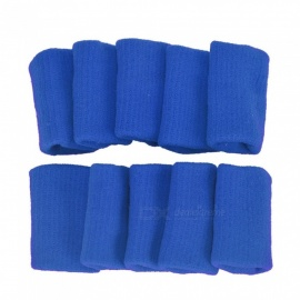 P-TOP 10Pcs Gear Finger Guard Bands Bandage Support Wraps, Arthritis Aid Straight Finger Stall Sleeve Protector - Blue