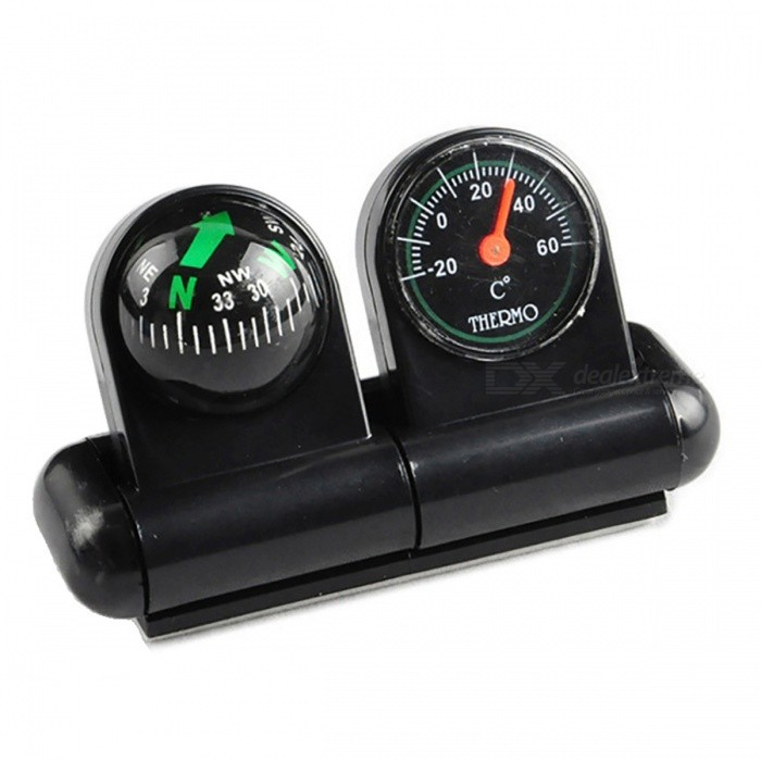 OJADE 2-in-1 Guide Ball Car Navigation Compass ThermometerCompasses<br>Form  ColorBlackQuantity1 DX.PCM.Model.AttributeModel.UnitMaterialABSAnalog or DigitalAnalogRulerNoPacking List1 x Compass<br>