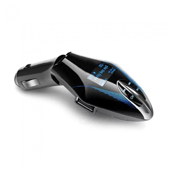 Unique Bullet Train Shape Smart Bluetooth Car Charger Kit with LCD Display - Blue