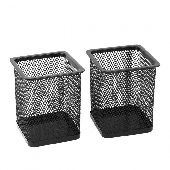 Metal Square Mesh Design Pen Holder Case For Home Office   Black (2 PCS)