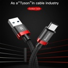 Baseus Golden Belt Series USB 3.0 to Type-C 3A Data Sync Charging Cable - Black + Red (1.5M)