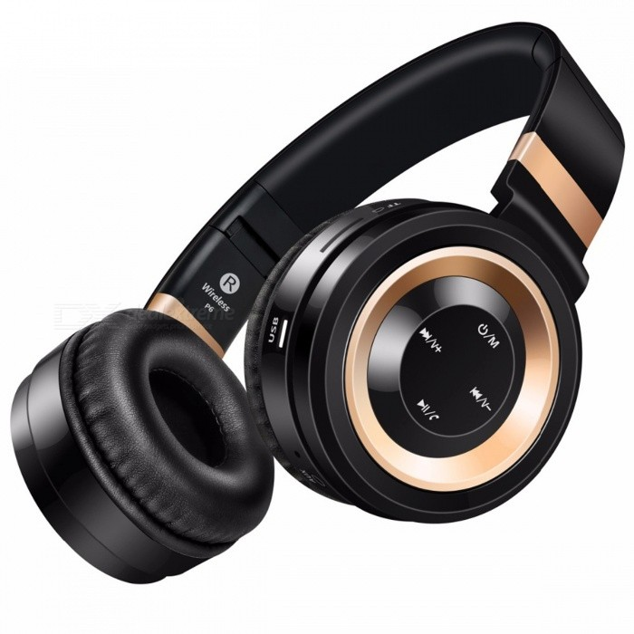 Sound Intone P6 Bluetooth Wireless Headphone with Mic - Black + GoldenHeadphones<br>Form  ColorBlack + GoldBrandOthers,Sound IntoneModelP6MaterialPlastic + MetalQuantity1 DX.PCM.Model.AttributeModel.UnitConnection3.5mm Wired,BluetoothBluetooth VersionBluetooth V4.0Operating Range12MConnects Two Phones SimultaneouslyYesHeadphone StyleBilateral,HeadbandWaterproof LevelOthers,SweatproofApplicable ProductsUniversalHeadphone FeaturesPhone Control,Long Time Standby,Noise-Canceling,Volume Control,With Microphone,Portable,For Sports &amp; ExerciseRadio TunerYesSupport Memory CardYesMemory Card SlotStandard TF CardMax. Memory Supported32GBSupport Apt-XYesSensitivity103±3dBFrequency Response20-20KHzImpedance32 DX.PCM.Model.AttributeModel.UnitBattery TypeLi-ion batteryBuilt-in Battery Capacity 300 DX.PCM.Model.AttributeModel.UnitStandby Time240 DX.PCM.Model.AttributeModel.UnitTalk Time8 DX.PCM.Model.AttributeModel.UnitMusic Play Time8 DX.PCM.Model.AttributeModel.UnitPacking List1 x Headphone<br>