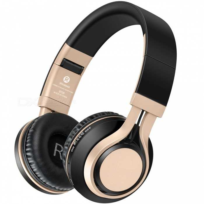 Sound Intone BT08 Bluetooth Wireless Headphone, Support TF Card FM - Black + GoldenHeadphones<br>Form  ColorBlack + GoldBrandOthers,Sound IntoneModelBT08MaterialPlastic + MetalQuantity1 setConnection3.5mm Wired,BluetoothBluetooth VersionBluetooth V4.0Operating Range10MHeadphone StyleBilateral,HeadbandWaterproof LevelOthers,SweatproofApplicable ProductsUniversalHeadphone FeaturesPhone Control,Long Time Standby,Noise-Canceling,Volume Control,With Microphone,Portable,For Sports &amp; ExerciseRadio TunerYesSupport Memory CardYesMemory Card SlotStandard TF CardMax. Memory Supported16GBSupport Apt-XYesSensitivity108±3dBFrequency Response20-20000HzImpedance32 ohmBattery TypeLi-ion batteryBuilt-in Battery Capacity 300 mAhStandby Time30 hoursTalk Time8 hoursMusic Play Time8 hoursPacking List1 x BT08 Headphone1 x User Manual1 x USB Charging Cable1 x 3.5mm cord<br>