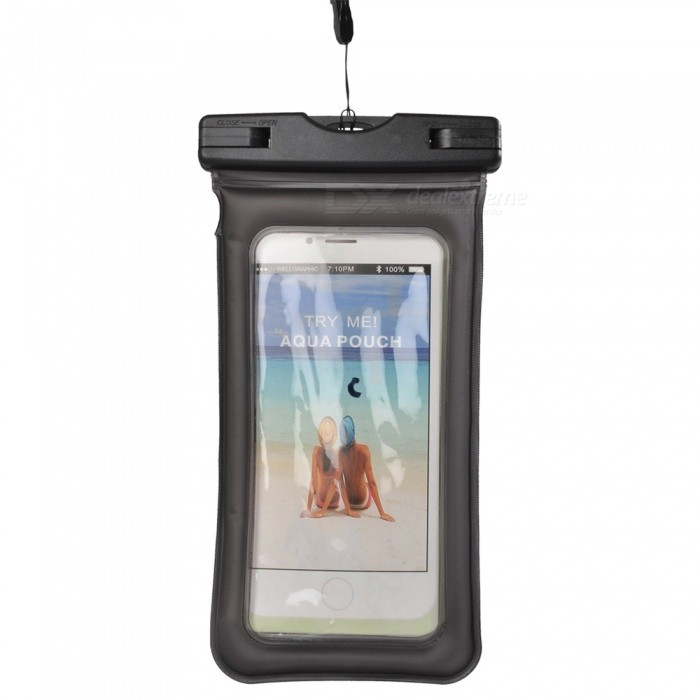 Waterproof PVC ABS Bag Pouch with Arm Band for IPHONE X / IPHONE 6 PLUS / 6S PLUS / 7 PLUS / 8 PLUS - Black
