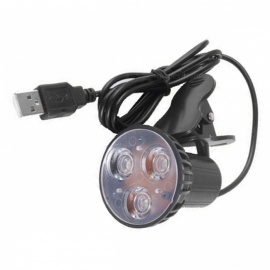 Flexible Super Bright 3-LED Clip-On Spot USB Light Lamp for Laptop PC Notebook - Black