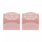 Plastic Hollow Pattern Office Desktop Storage Organizer, Cosmetic Phone Pen Pencil Holders - Pink (2 PCS)