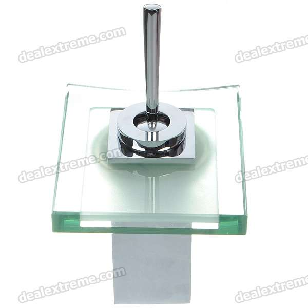 Waterfall Sink Faucet Set with 3-Mode Temperature Indicator LED Light