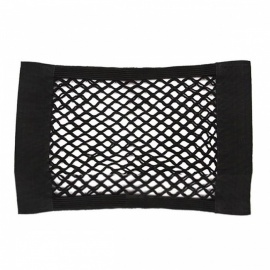 Auto Car Seat Rear Back Velcro Elastic Net Mesh Storage Bag Pocket Organizer for Small Gadgets - Black