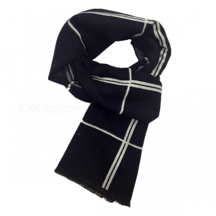 Winter Warm Fashion Mens Plaid Cashmere Scarf - Black + Grey + WhiteScarves<br>Form  ColorBlack + Grey + WhiteQuantity1 pieceShade Of ColorMulti-colorMaterialHigh-grade cotton +1 grade polyester fiberGenderMenSuitable forAdultsPatternLatticeScarf Length188 cmScarf Width33 cmPacking List1 x Scarf<br>