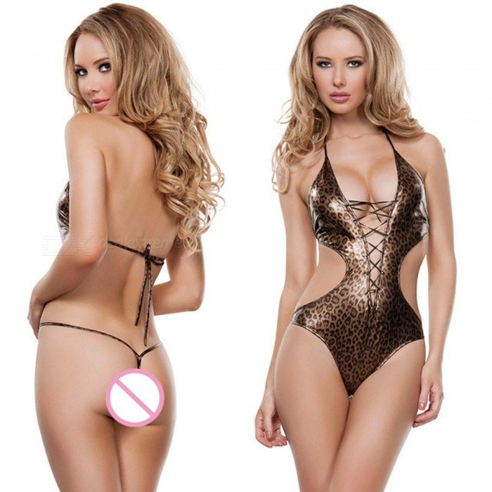 Super Sexy Leopard Pattern Hollow Imitation Leather Sexy Underwear Lingerie