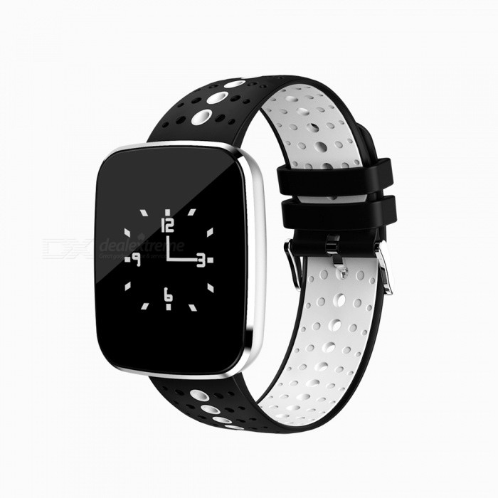 V6 Fashion Bluetooth IP67 Waterproof Smart Wrist Watch Bracelet with Heart Rate Monitoring - White + BlackSmart Bracelets<br>Form  ColorWhite + BlackQuantity1 DX.PCM.Model.AttributeModel.UnitMaterialABSShade Of ColorWhiteWater-proofIP67Bluetooth VersionBluetooth V4.0Touch Screen TypeYesCompatible OSAndroid system version 4.4 or above; iOS system version 8.0 or above.Battery Capacity110 DX.PCM.Model.AttributeModel.UnitBattery TypeLi-polymer batteryStandby Time5-7 DX.PCM.Model.AttributeModel.UnitPacking List1 x Smart Watch1 x Charging Cable 1 x User Manual<br>